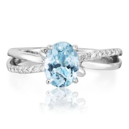 14K White Gold Aquamarine/Diamond Ring | RPF103Q22WI