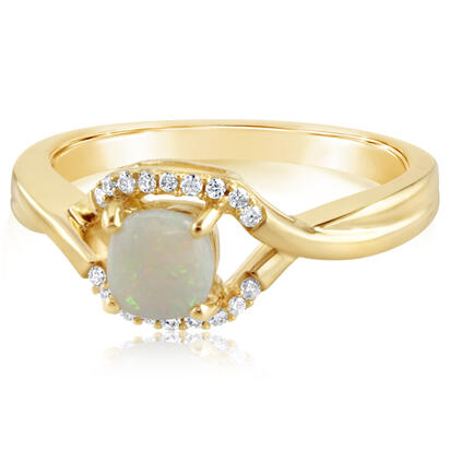 14K Yellow Gold Australian Opal/Diamond Ring | RPF107N22CI