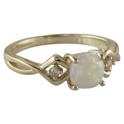 14K Yellow Gold Australian Opal/Diamond Ring | RPF108N22CI
