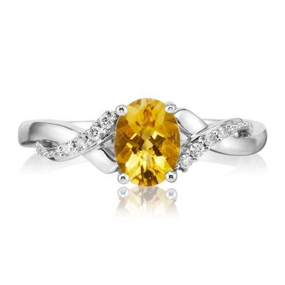 14K White Gold Citrine/Diamond Ring | RPF109CC2WI