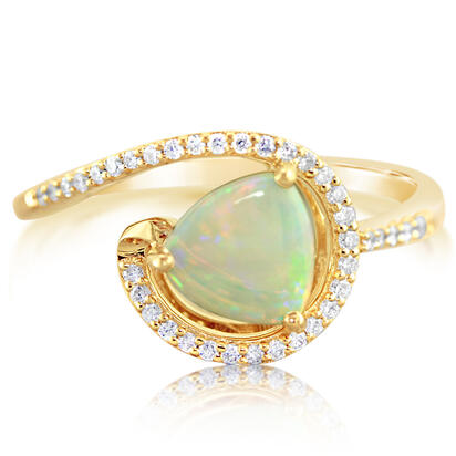 14K Yellow Gold Australian Opal/Diamond Ring | RPF127N12CI