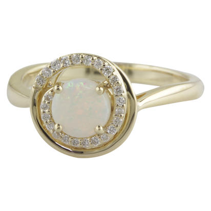 14K Yellow Gold Australian Opal/Diamond Ring | RPF130N22CI