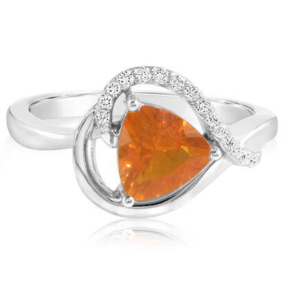 14K White Gold Fire Opal/Diamond Ring | RPF131FO2WI