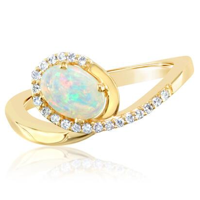 14k Yellow Gold Australian Opal Diamond Ring Rpf132n12ci