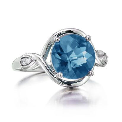 14K White Gold Blue Topaz/Diamond Ring