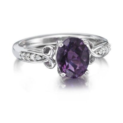 14K White Gold Amethyst/Diamond Ring | RPF158AC2W