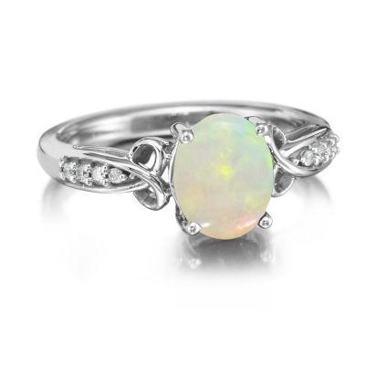 14K White Gold Natural Opal/Diamond Ring | RPF158N12W
