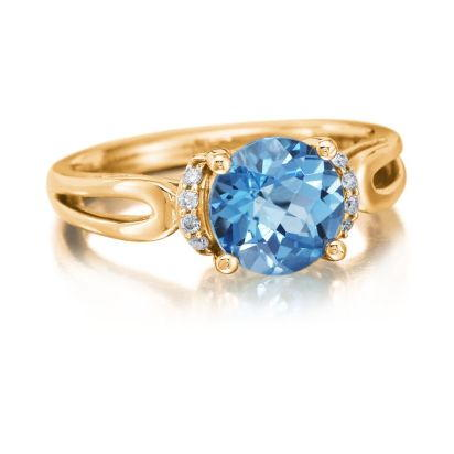 14K Yellow Gold Blue Topaz/Diamond Ring | RPF159BC2C