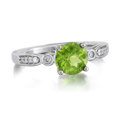 14K White Gold Peridot/Diamond Ring | RPF160TC2W