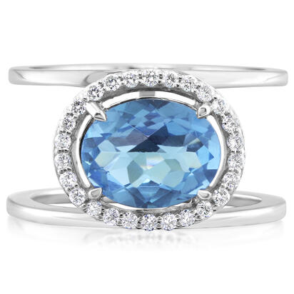 14K White Gold Blue Topaz/Diamond Ring | RPF161BC1WI