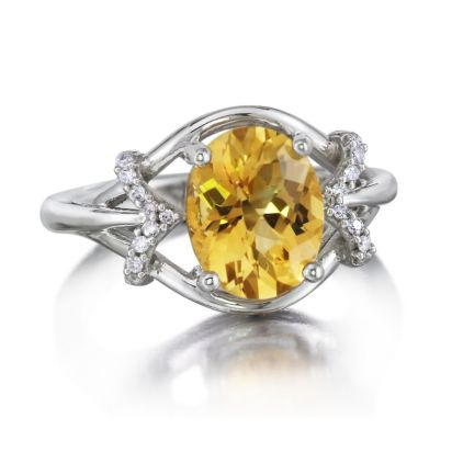 14K White Gold Checkerboard Citrine/Diamond Ring | RPF163CC2W