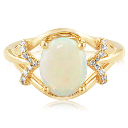 14K Yellow Gold Australian Opal/Diamond Ring | RPF163N22C