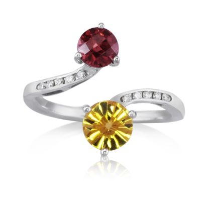 14K White Gold 6mm Round Citrine/5mm Round Rhodolite/Diamond Ring | RPF167CCLC2W
