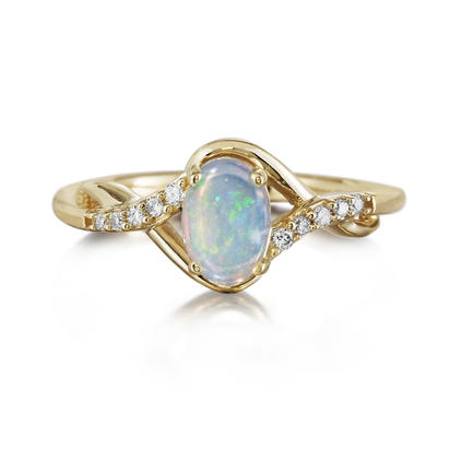 14K Yellow Gold Australian Opal/Diamond Ring | RPF170N12C