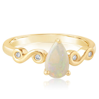 14K Yellow Gold Australian Opal/Diamond Ring | RPF171N12C