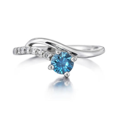 14K Yellow Gold Blue Topaz/Diamond Ring | RPF173B22C