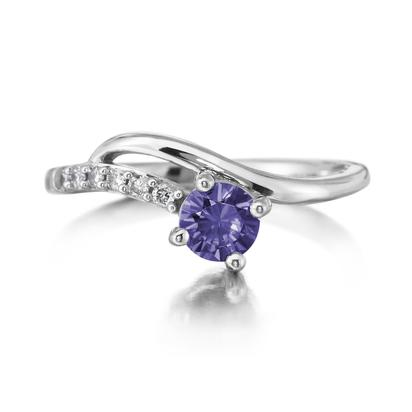 14K White Gold Peacock Tanzanite/Diamond Ring | RPF173FT2W