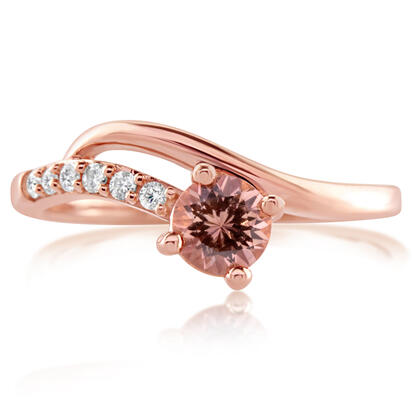 14K Rose Gold Lotus Garnet/Diamond Ring
