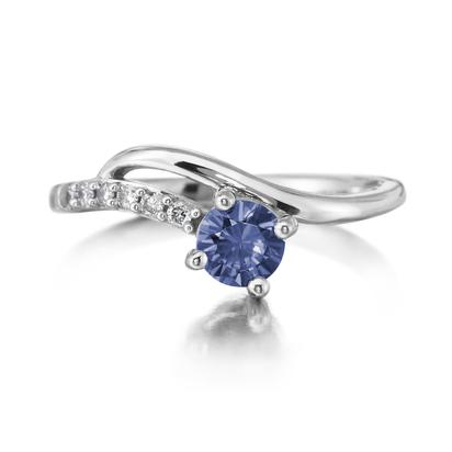 14K White Gold Blue Sapphire/Diamond Ring | RPF173S12W