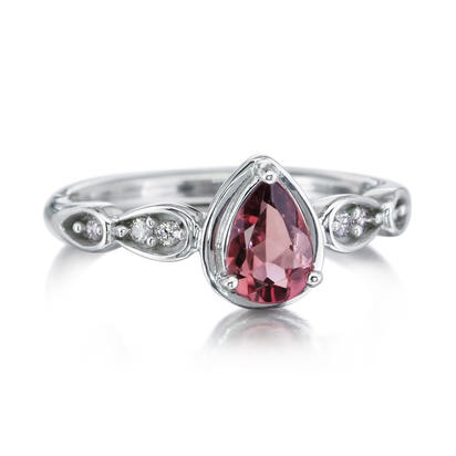 14K White Gold Rhodolite Garnet/Diamond Ring | RPF174L22W