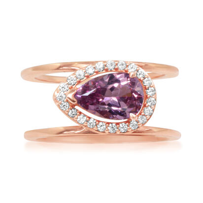 14K Rose Gold Lotus Garnet/Diamond Ring | RPF181LG1RI