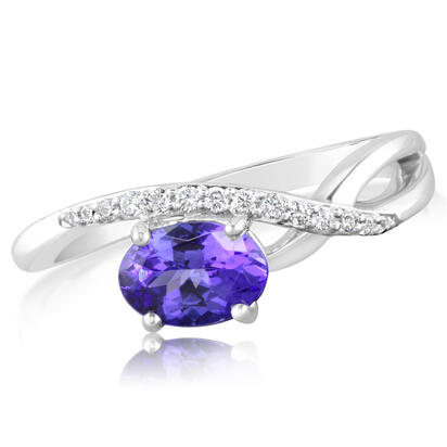 14K White Gold Tanzanite/Diamond Ring | RPF184J22WI