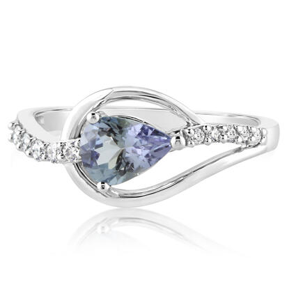 14K White Gold Peacock Tanzanite/Diamond Ring | RPF185FT2WI