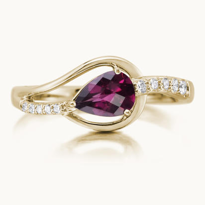 14K Yellow Gold Rhodolite/Diamond Ring | RPF185LC2CI