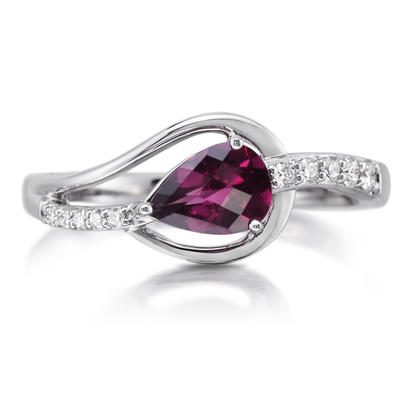 14K White Gold Rhodolite/Diamond Ring | RPF185LC2WI