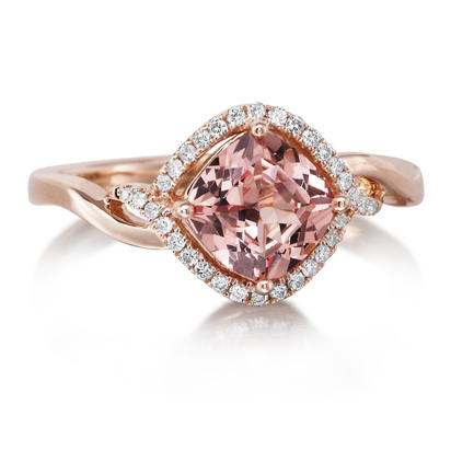14K Rose Gold Lotus Garnet/Diamond Ring | RPF186LG2RI
