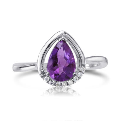 14K White Gold Amethyst/Diamond Ring | RPF187AC2WI