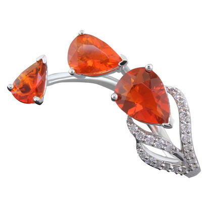 14K White Gold Fire Opal/Diamond Ring | RPF188FO2WI
