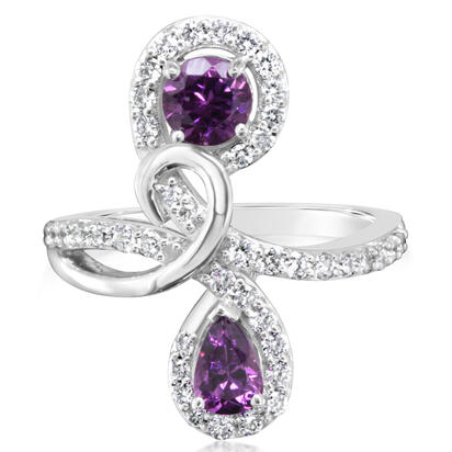 14K White Gold Purple Garnet/Diamond Ring | RPF190GP2WI