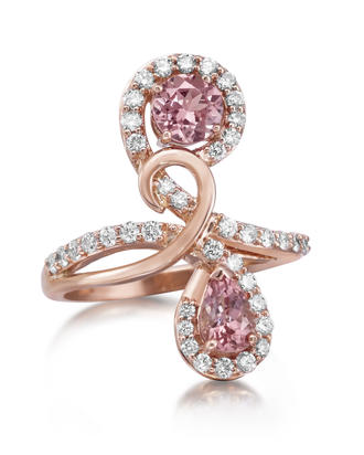 14K Rose Gold Lotus Garnet/Diamond Ring | RPF190LG2RI