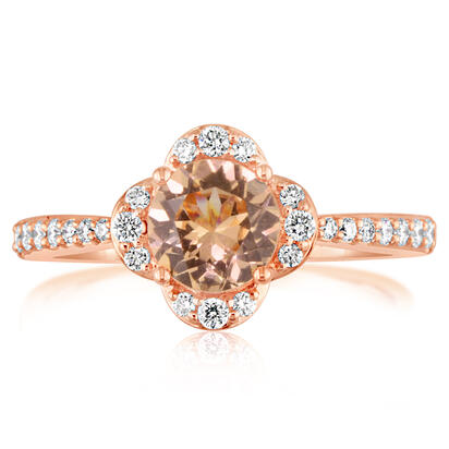 14K Rose Gold Lotus Garnet/Diamond Ring | RPF192LG2RI