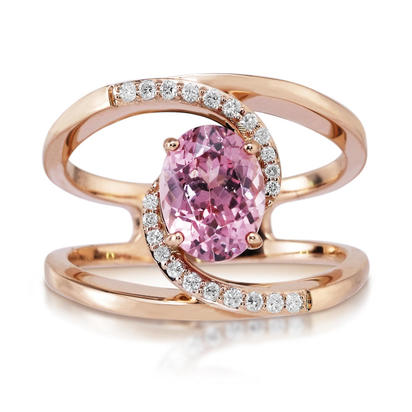 14K Rose Gold Lotus Garnet/Diamond Ring | RPF193LG2RI