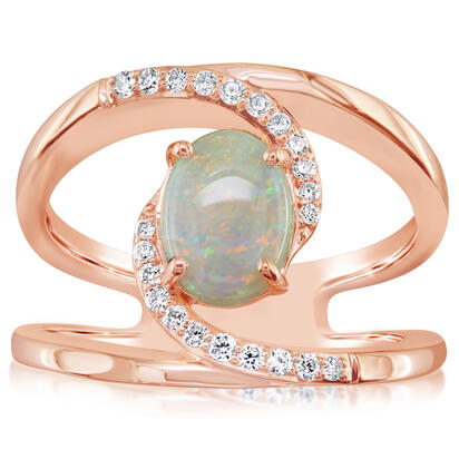 14K Yellow Gold Australian Opal/Diamond Ring | RPF193N12CI