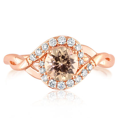 14K Rose Gold Lotus Garnet/Diamond Ring | RPF194LG2RI