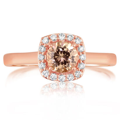 14K Rose Gold Lotus Garnet/Diamond Ring | RPF195LG2RI