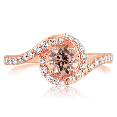 14K Rose Gold Lotus Garnet/Diamond Ring | RPF198LG2RI