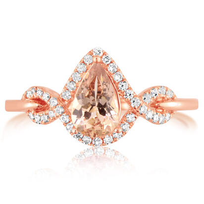 14K Rose Gold Lotus Garnet/Diamond Ring | RPF200LG2RI