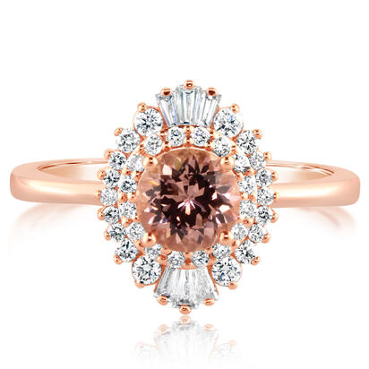 14K Rose Gold Lotus Garnet/Diamond Ring | RPF202LG1R