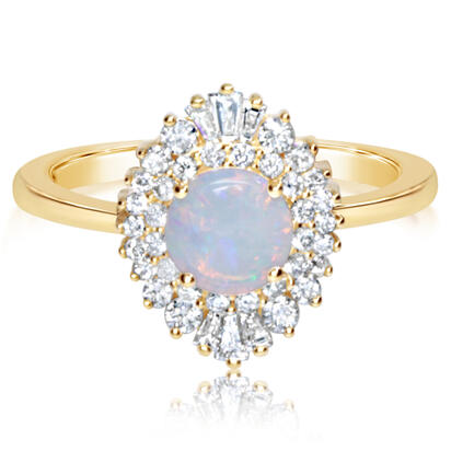 14K Yellow Gold Australian Opal/Diamond Ring | RPF202N11C