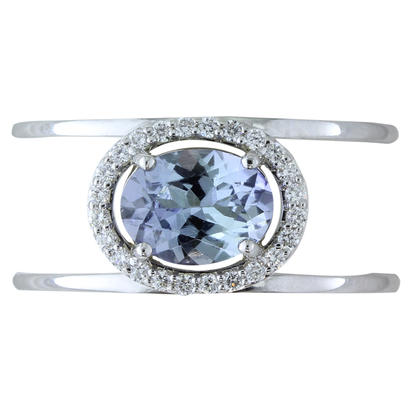 14K White Gold Peacock Tanzanite/Diamond Ring | RPF212FT1WI