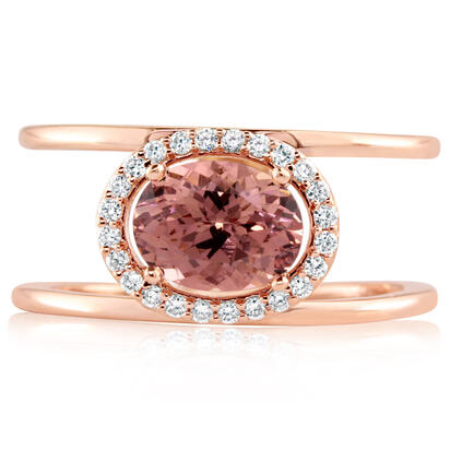 14K Rose Gold Lotus Garnet/Diamond Ring | RPF212LG1RI