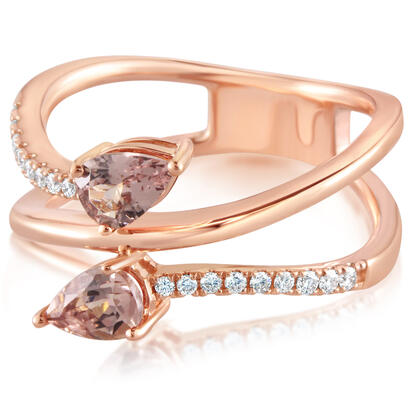 14K Rose Gold Lotus Garnet/Diamond Ring | RPF217LG1RI