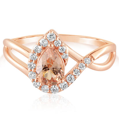 14K Rose Gold Lotus Garnet/Diamond Ring | RPF218LG1RI