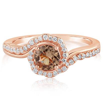 14K Rose Gold Lotus Garnet/Diamond Ring | RPF220LG1RI