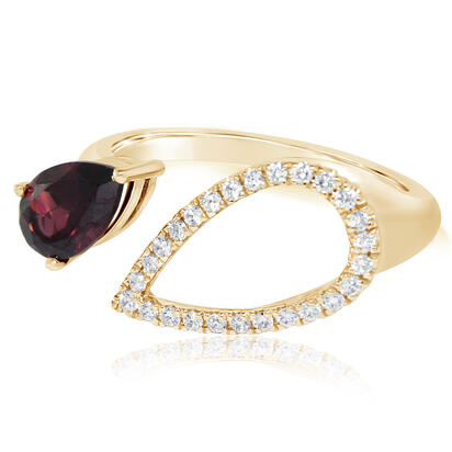 14K Rose Gold Rhodolite Garnet/Diamond Ring | RPF226L22RI