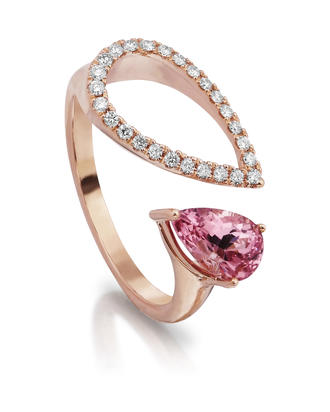 14K Rose Gold Lotus Garnet/Diamond Ring | RPF226LG2RI